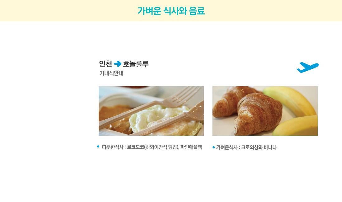 가벼운 식사와 음료/출발-인천에서 호놀룰루 방향 기내식