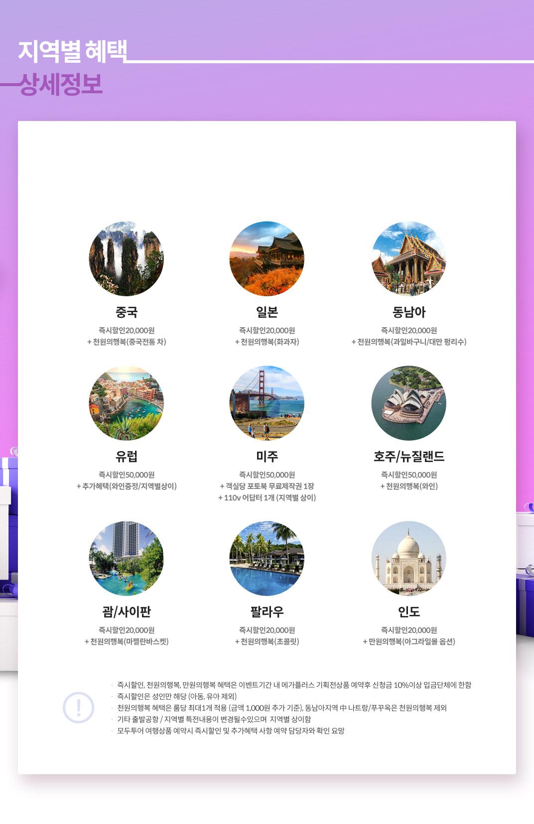 지역별 인천출발 상세정보